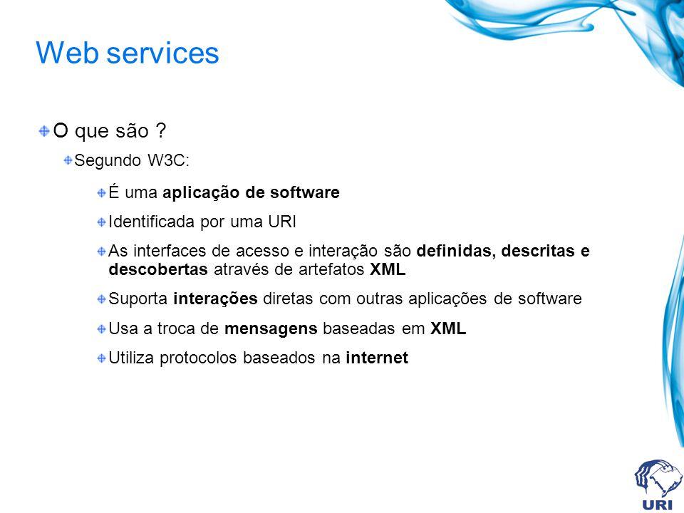 Web services O que são Segundo W3C: É uma aplicação de software