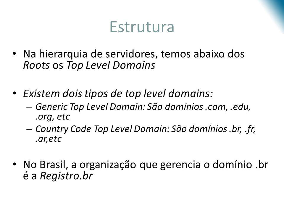 Estrutura Na hierarquia de servidores, temos abaixo dos Roots os Top Level Domains. Existem dois tipos de top level domains: