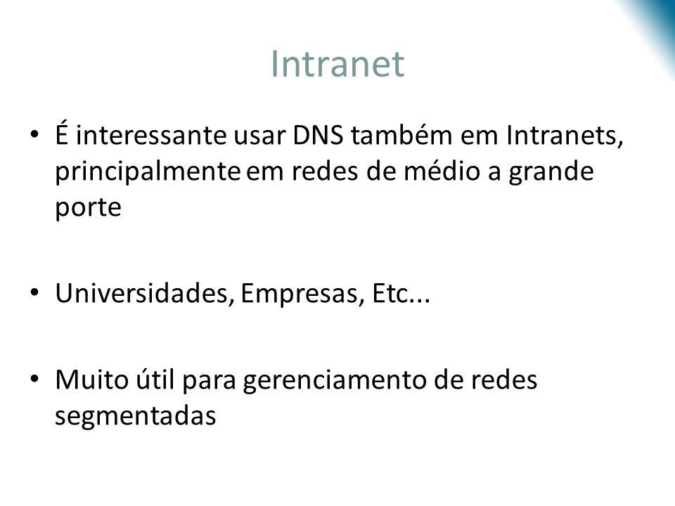 Intranet É interessante usar DNS também em Intranets, principalmente em redes de médio a grande porte.