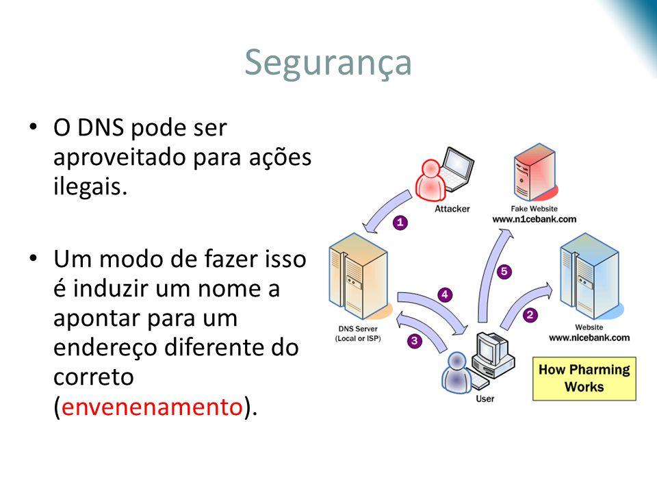 Segurança O DNS pode ser aproveitado para ações ilegais.