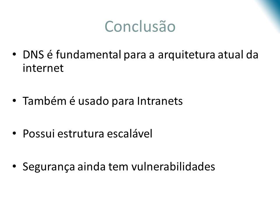 Conclusão DNS é fundamental para a arquitetura atual da internet