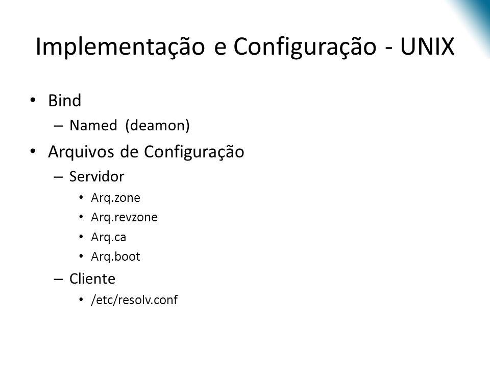 Implementação e Configuração - UNIX