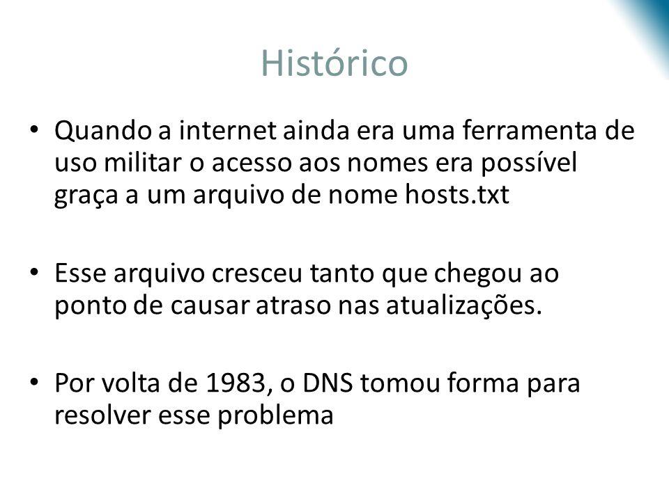 Histórico Quando a internet ainda era uma ferramenta de uso militar o acesso aos nomes era possível graça a um arquivo de nome hosts.txt.