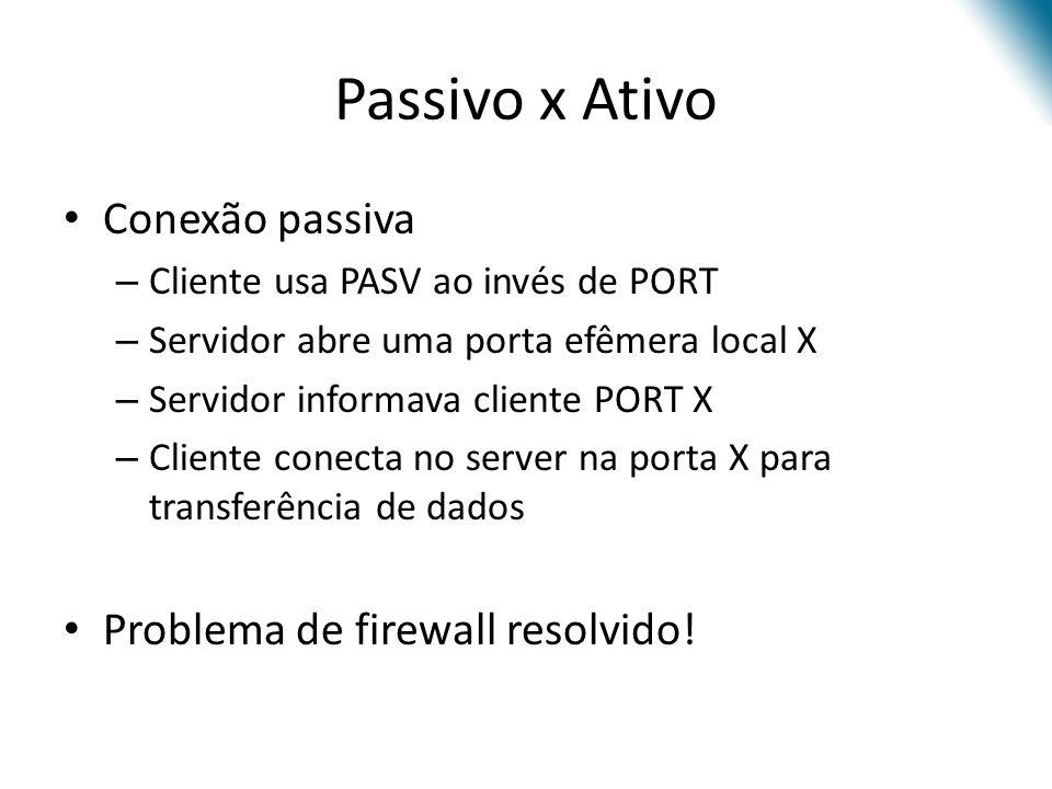Passivo x Ativo Conexão passiva Problema de firewall resolvido!
