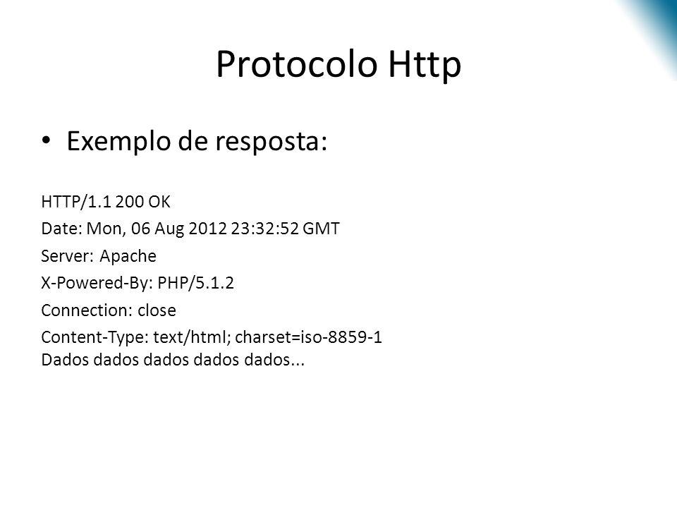Protocolo Http Exemplo de resposta: HTTP/1.1 200 OK