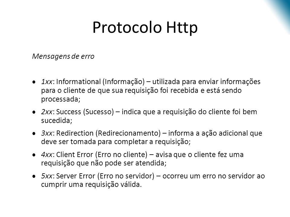 Protocolo Http Mensagens de erro
