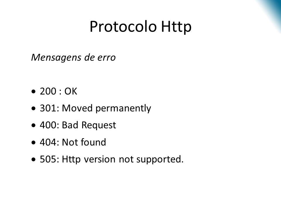 Protocolo Http Mensagens de erro 200 : OK 301: Moved permanently