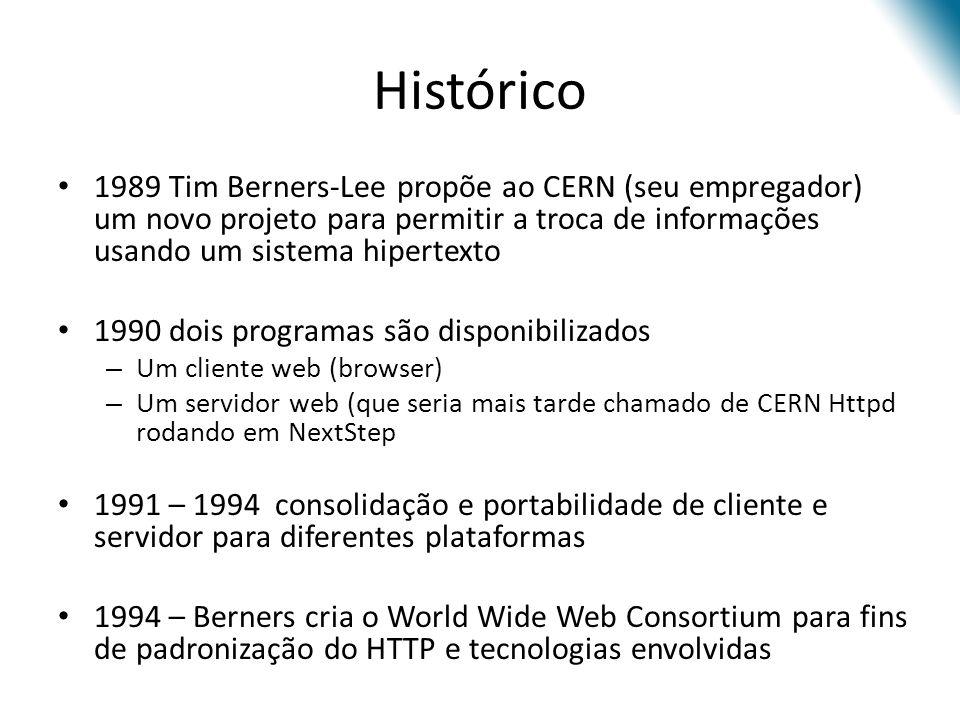 Histórico 1989 Tim Berners-Lee propõe ao CERN (seu empregador) um novo projeto para permitir a troca de informações usando um sistema hipertexto.