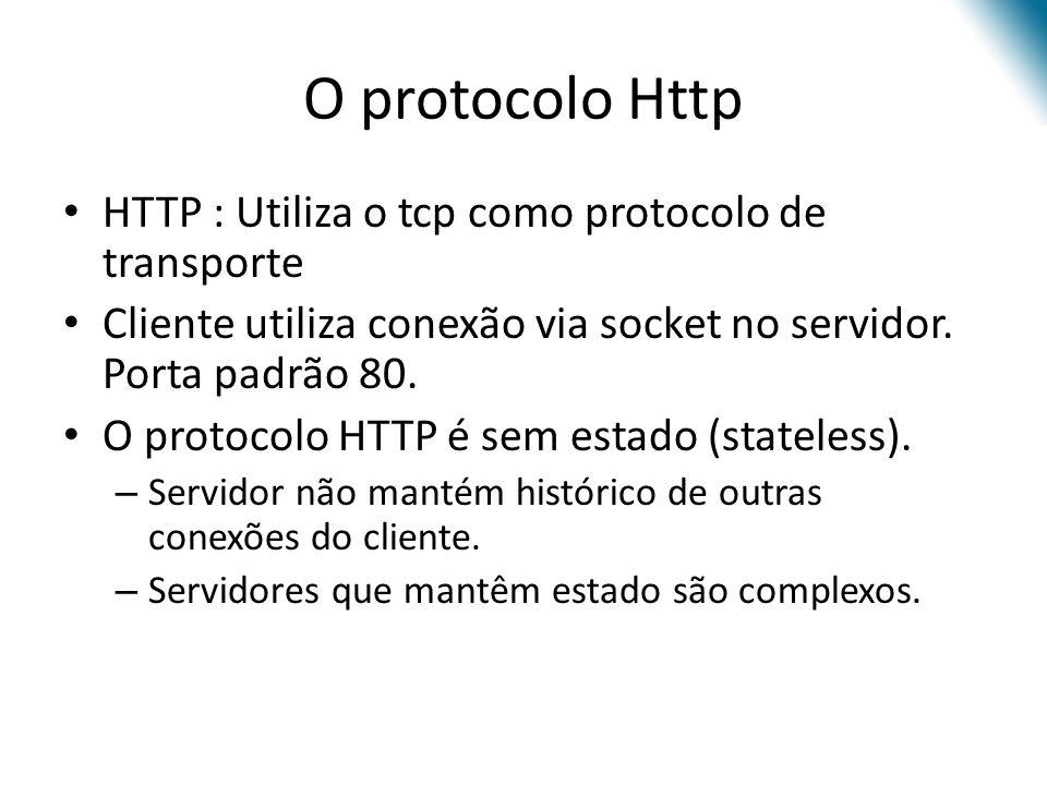 O protocolo Http HTTP : Utiliza o tcp como protocolo de transporte