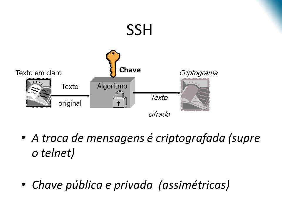 SSH A troca de mensagens é criptografada (supre o telnet)