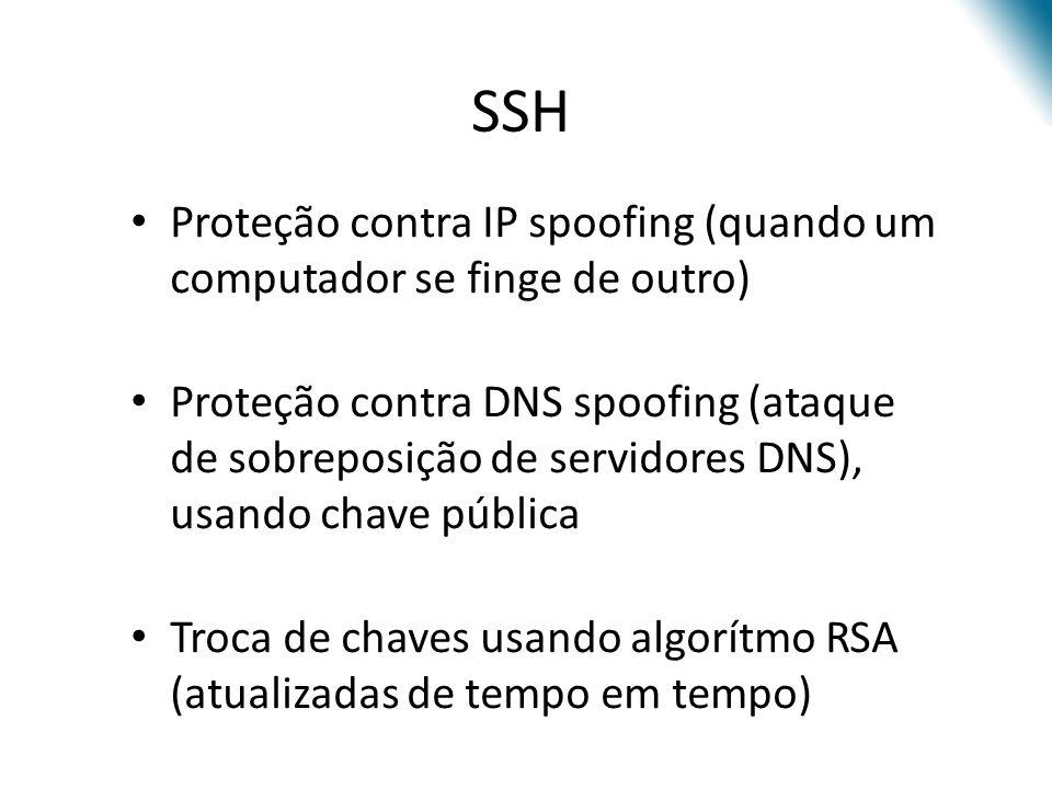 SSH Proteção contra IP spoofing (quando um computador se finge de outro)
