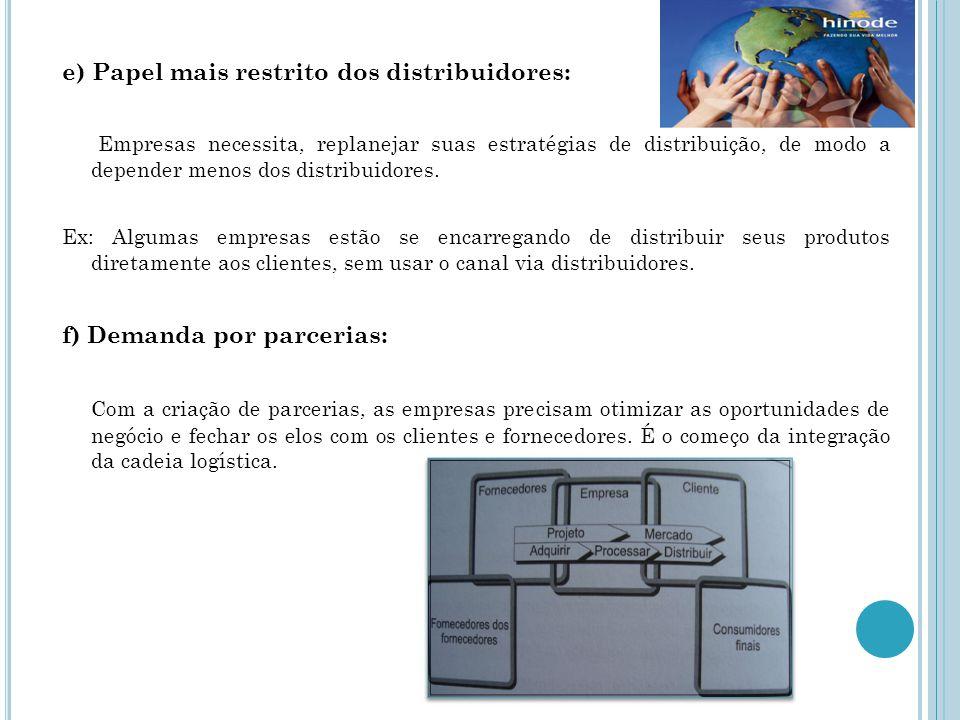 e) Papel mais restrito dos distribuidores: