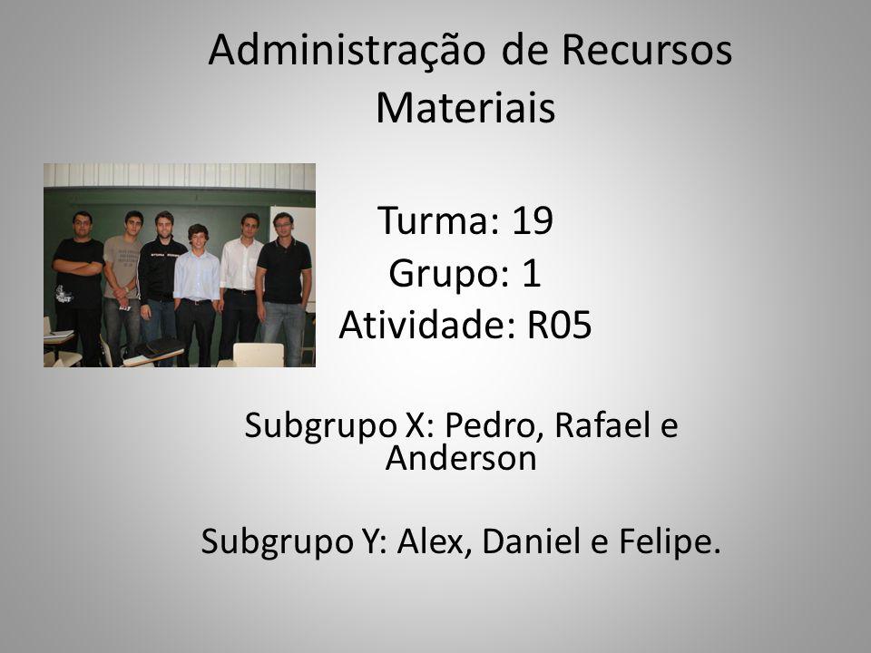 Administração de Recursos Materiais Turma: 19 Grupo: 1 Atividade: R05