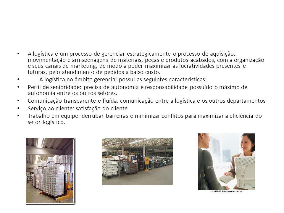A logística é um processo de gerenciar estrategicamente o processo de aquisição, movimentação e armazenagens de materiais, peças e produtos acabados, com a organização e seus canais de marketing, de modo a poder maximizar as lucratividades presentes e futuras, pelo atendimento de pedidos a baixo custo.