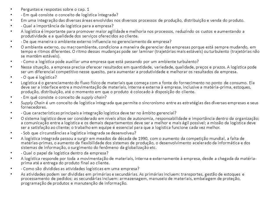 Perguntas e respostas sobre o cap. 1