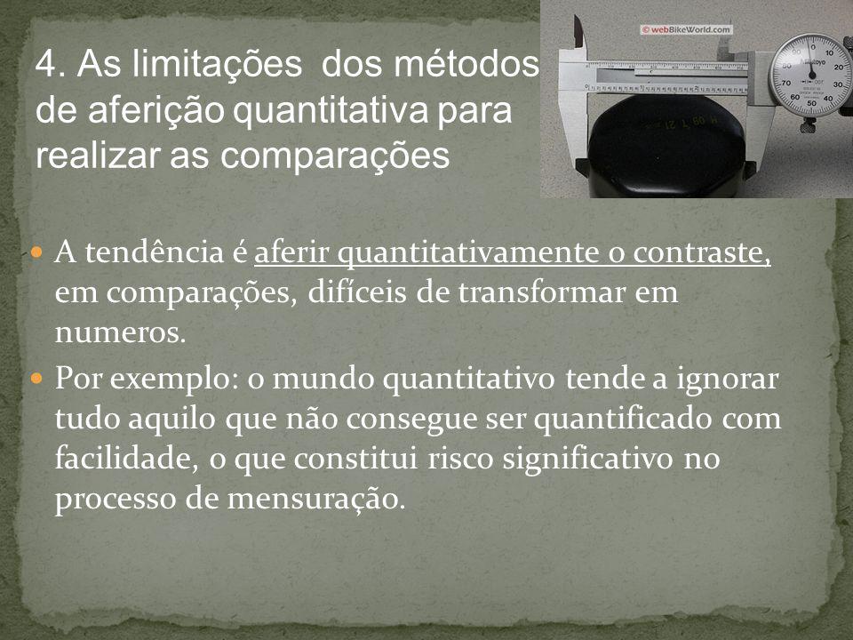 4. As limitações dos métodos de aferição quantitativa para realizar as comparações