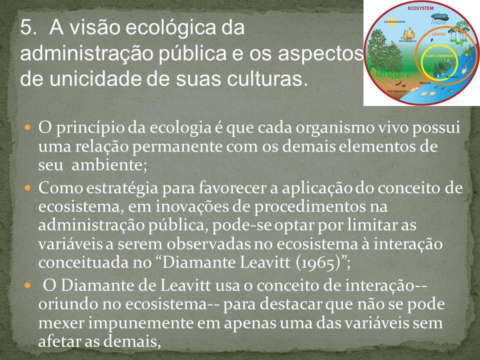 5. A visão ecológica da administração pública e os aspectos de unicidade de suas culturas.