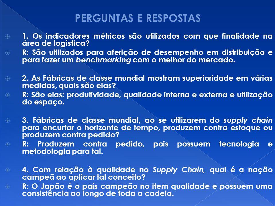 PERGUNTAS E RESPOSTAS 1. Os indicadores métricos são utilizados com que finalidade na área de logística