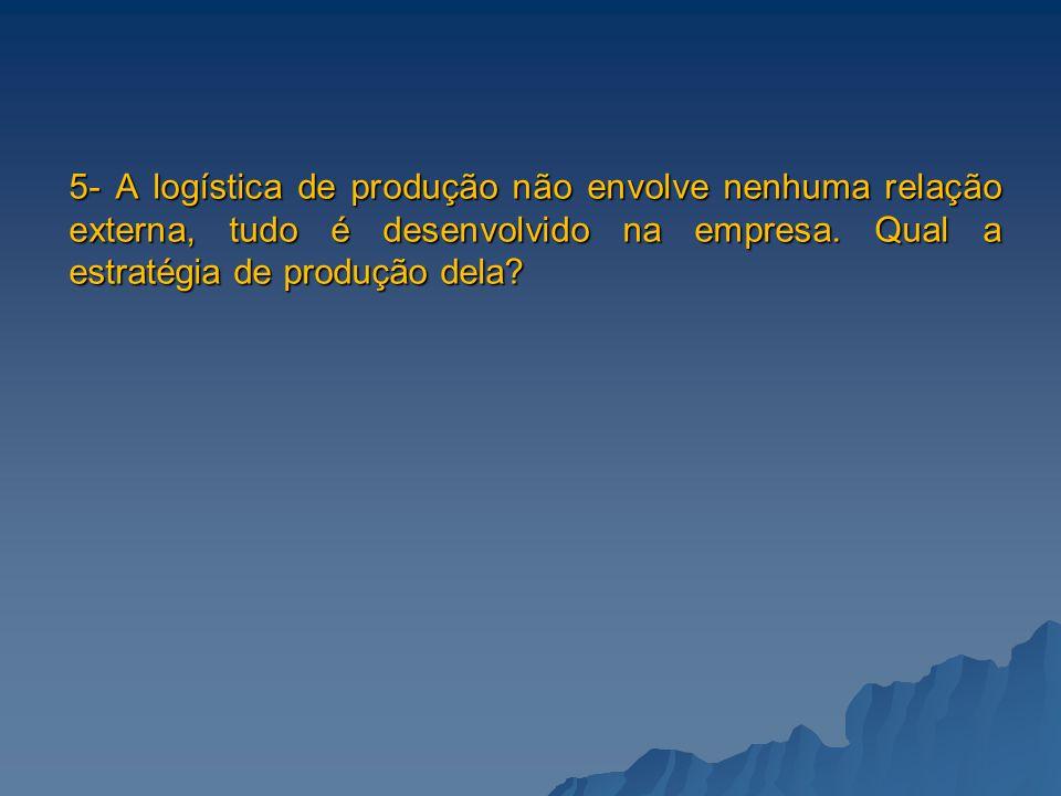 5- A logística de produção não envolve nenhuma relação externa, tudo é desenvolvido na empresa.