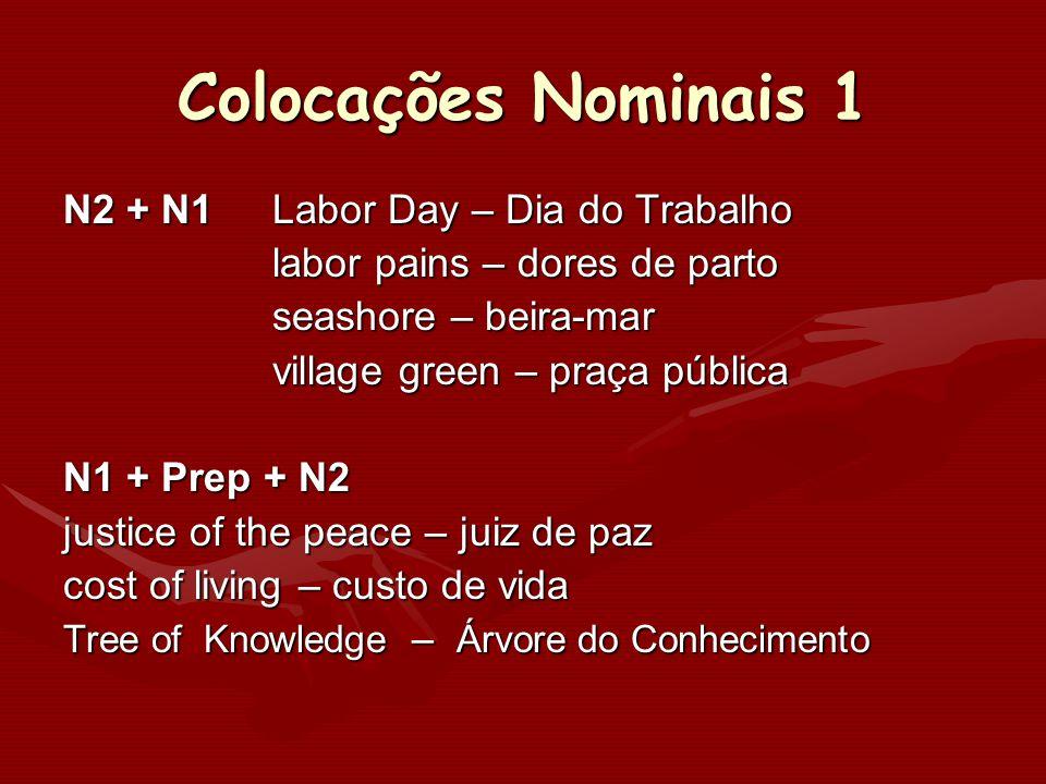 Colocações Nominais 1 N2 + N1 Labor Day – Dia do Trabalho