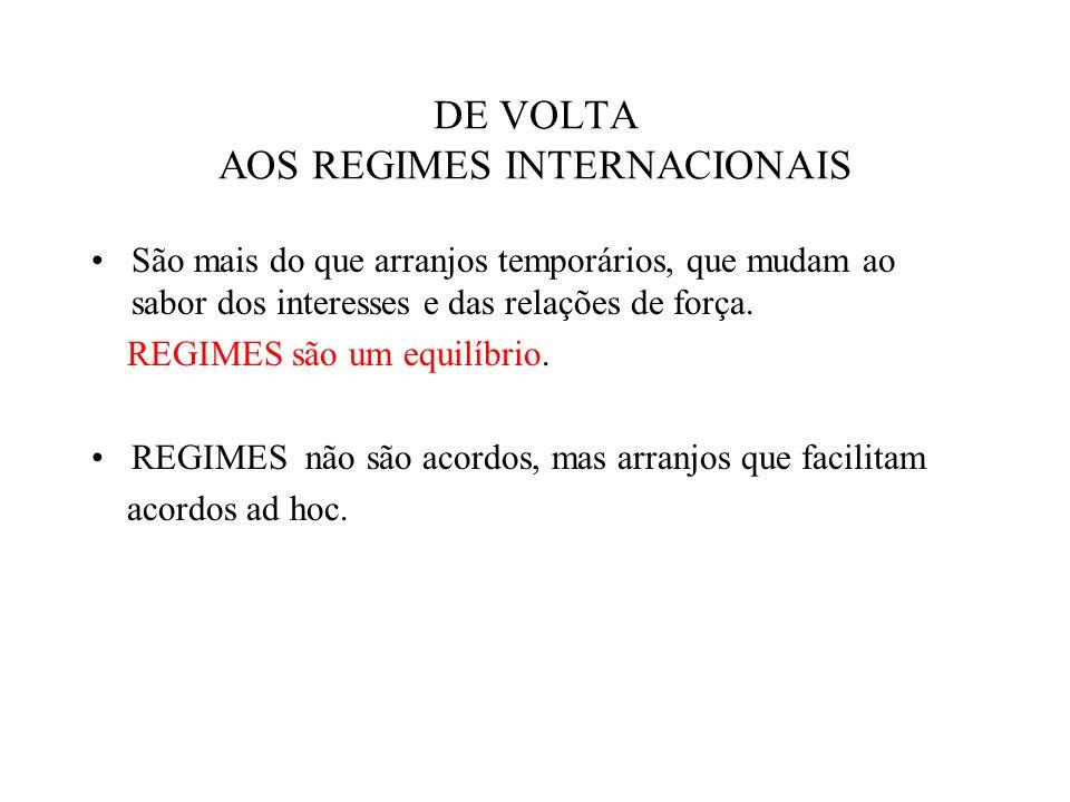 DE VOLTA AOS REGIMES INTERNACIONAIS