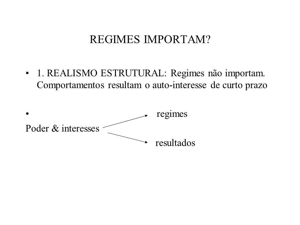 REGIMES IMPORTAM 1. REALISMO ESTRUTURAL: Regimes não importam. Comportamentos resultam o auto-interesse de curto prazo.