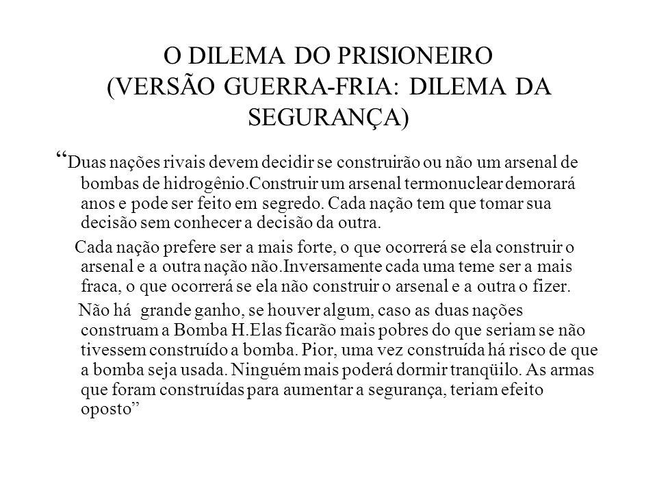 O DILEMA DO PRISIONEIRO (VERSÃO GUERRA-FRIA: DILEMA DA SEGURANÇA)