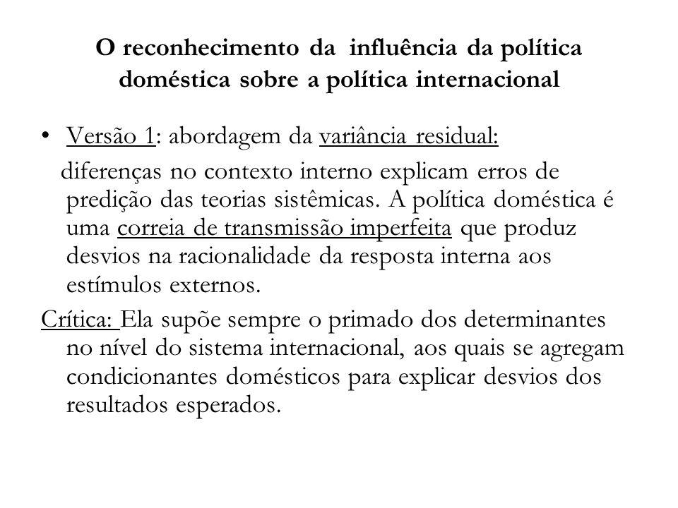 O reconhecimento da influência da política doméstica sobre a política internacional