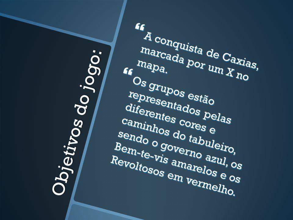 Objetivos do jogo: A conquista de Caxias, marcada por um X no mapa.