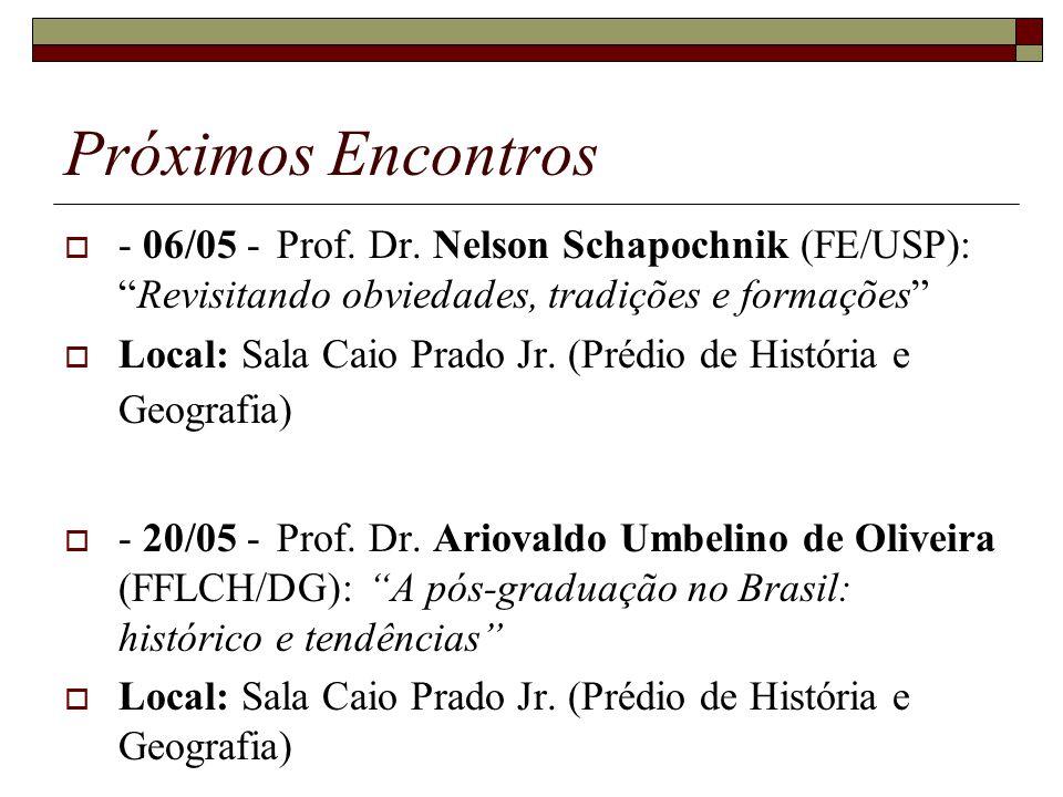 Próximos Encontros - 06/05 - Prof. Dr. Nelson Schapochnik (FE/USP): Revisitando obviedades, tradições e formações