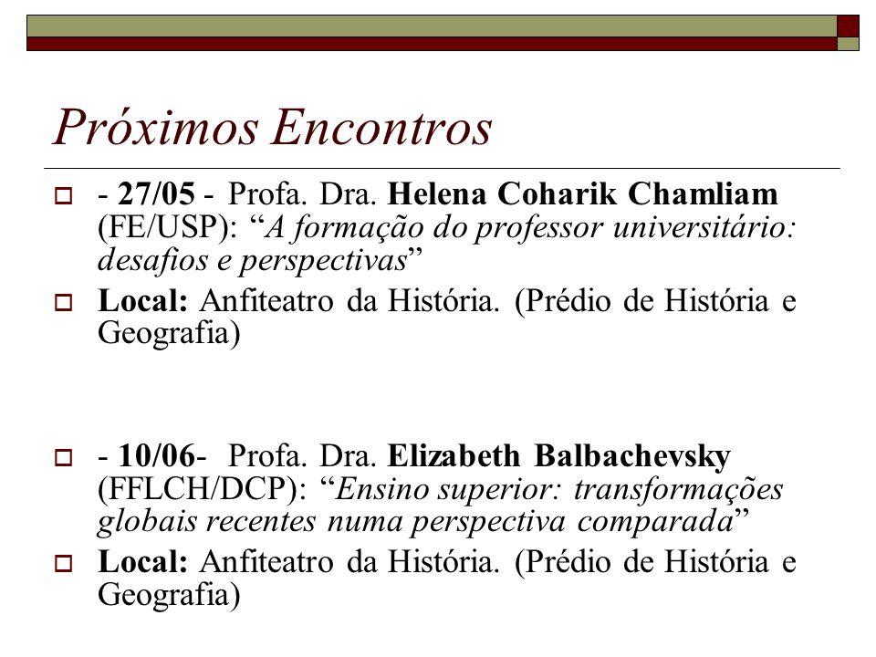 Próximos Encontros - 27/05 - Profa. Dra. Helena Coharik Chamliam (FE/USP): A formação do professor universitário: desafios e perspectivas