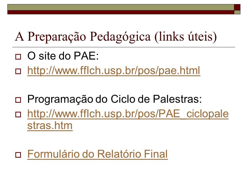 A Preparação Pedagógica (links úteis)