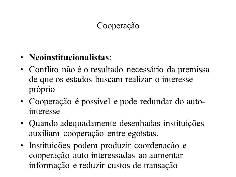 Cooperação Neoinstitucionalistas: Conflito não é o resultado necessário da premissa de que os estados buscam realizar o interesse próprio.