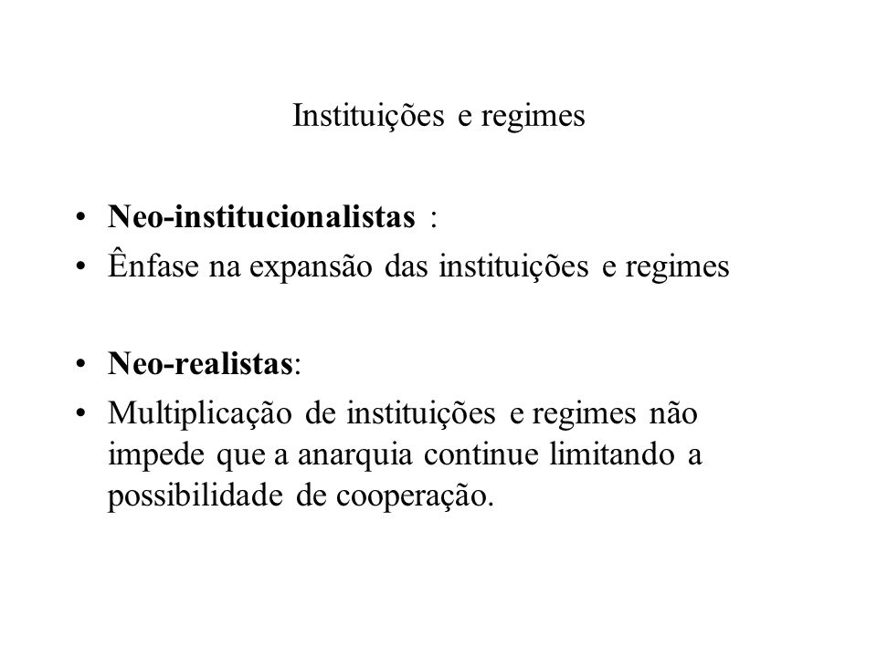 Instituições e regimes