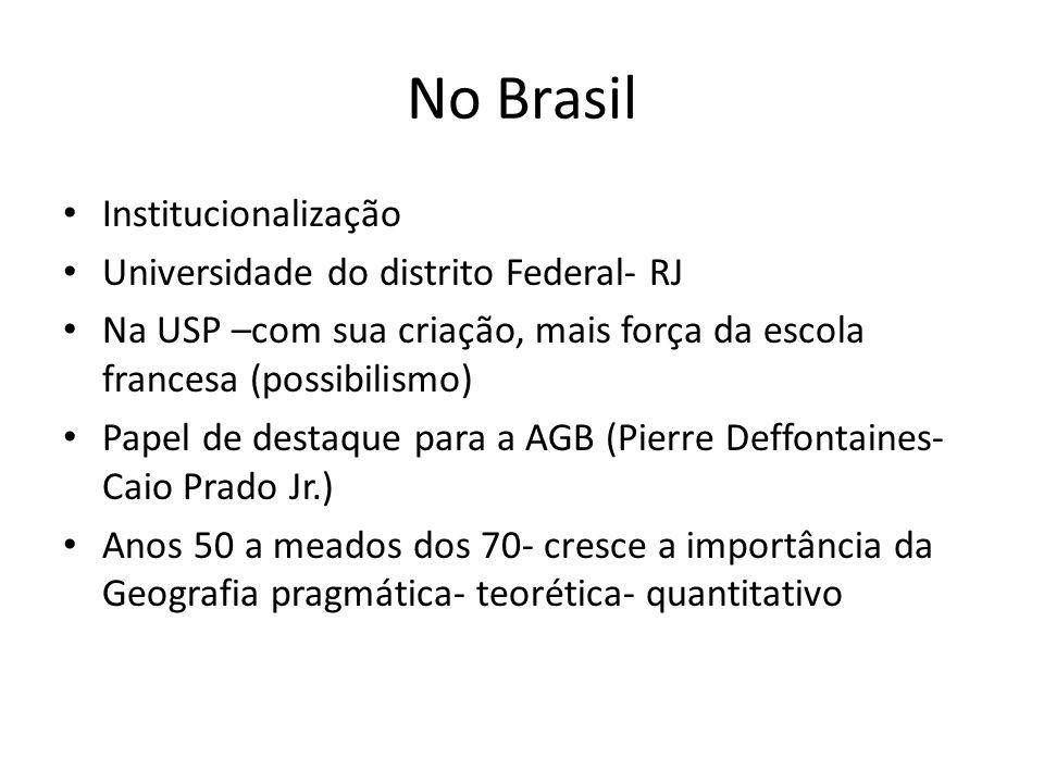 No Brasil Institucionalização Universidade do distrito Federal- RJ