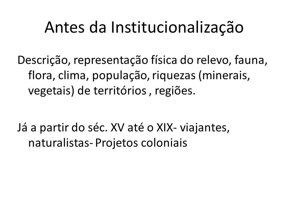 Antes da Institucionalização