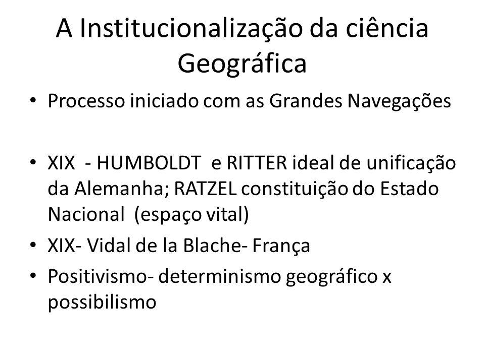 A Institucionalização da ciência Geográfica