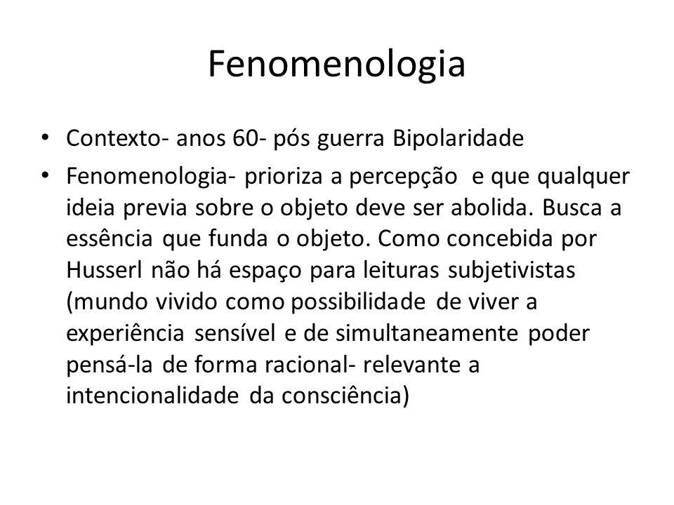Fenomenologia Contexto- anos 60- pós guerra Bipolaridade