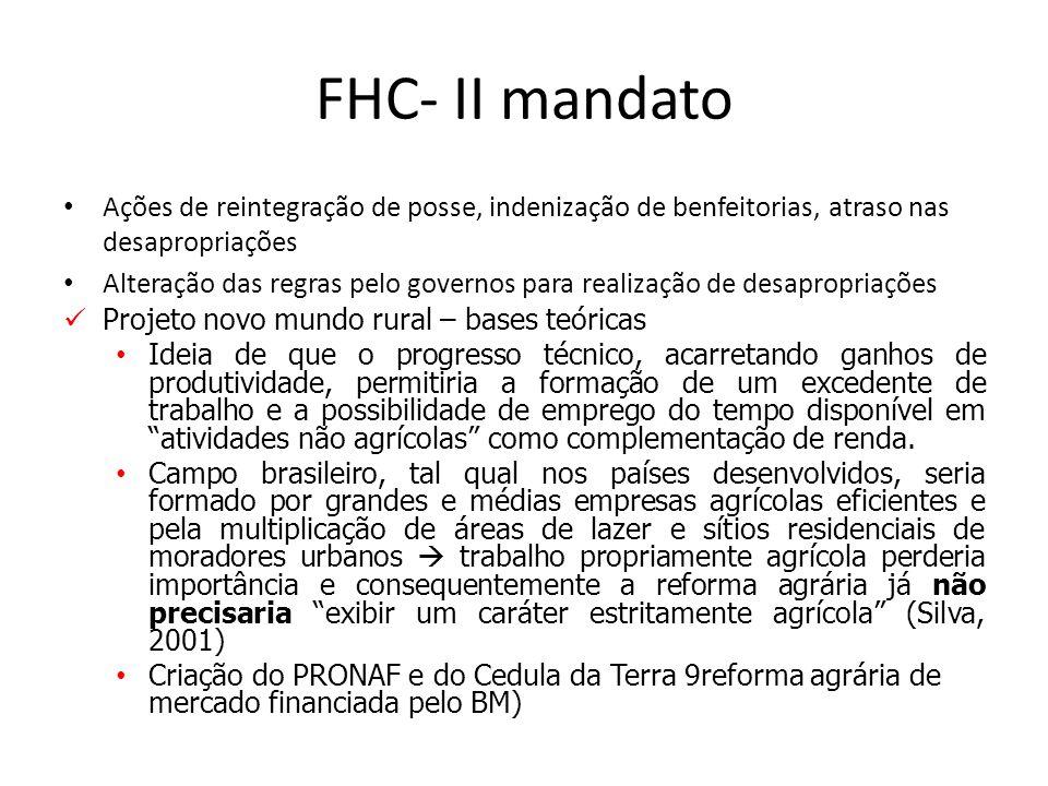 FHC- II mandato Ações de reintegração de posse, indenização de benfeitorias, atraso nas desapropriações.