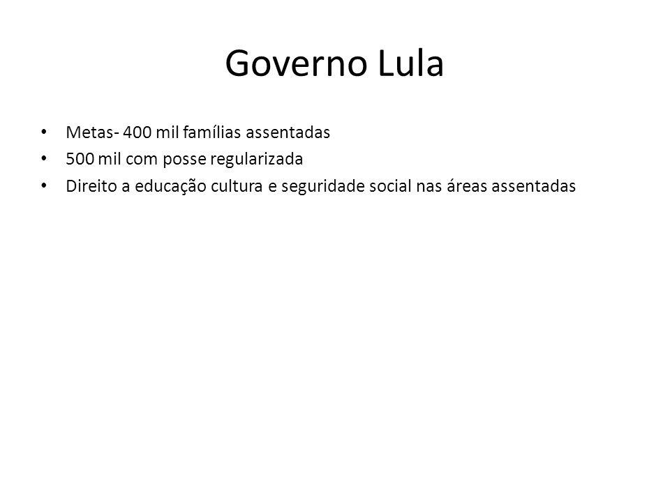 Governo Lula Metas- 400 mil famílias assentadas