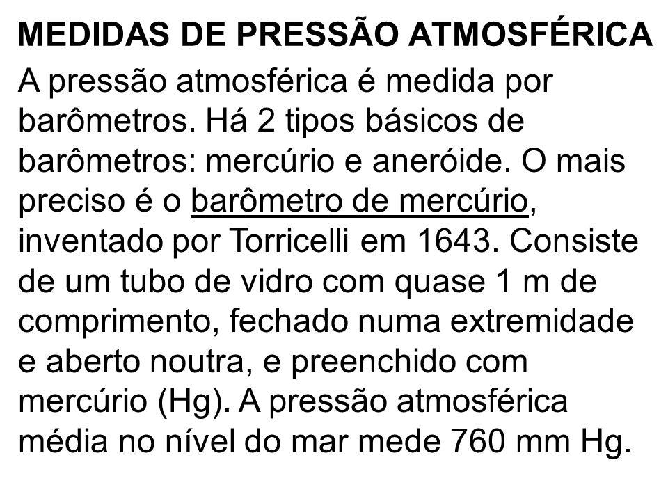 MEDIDAS DE PRESSÃO ATMOSFÉRICA