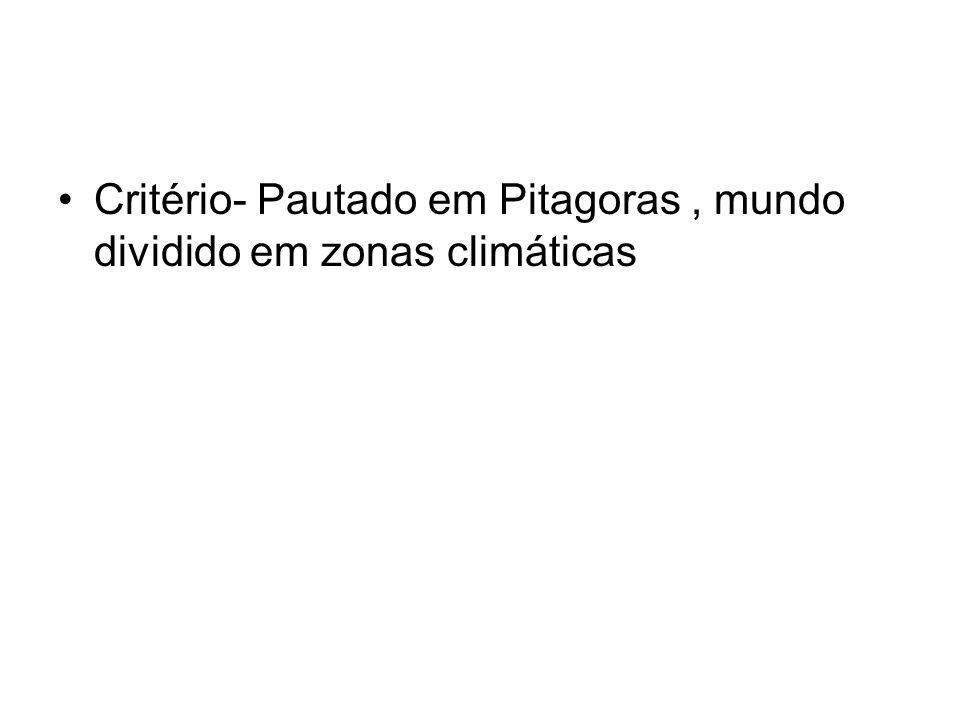 Critério- Pautado em Pitagoras , mundo dividido em zonas climáticas
