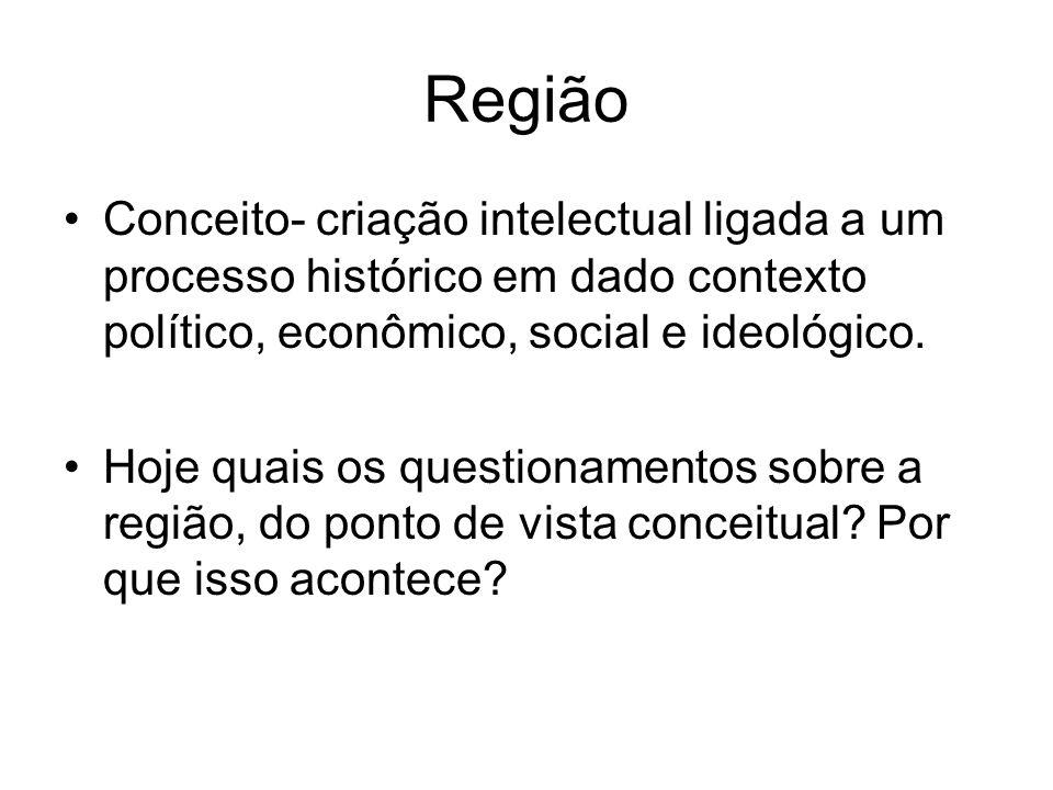 Região Conceito- criação intelectual ligada a um processo histórico em dado contexto político, econômico, social e ideológico.