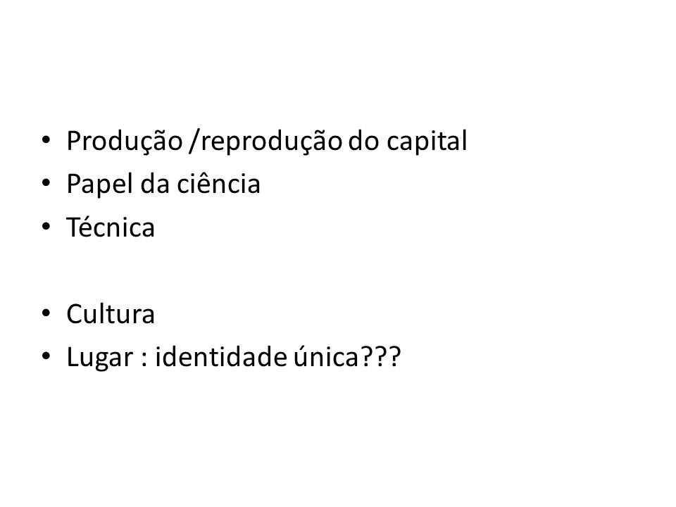 Produção /reprodução do capital
