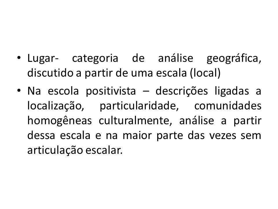 Lugar- categoria de análise geográfica, discutido a partir de uma escala (local)