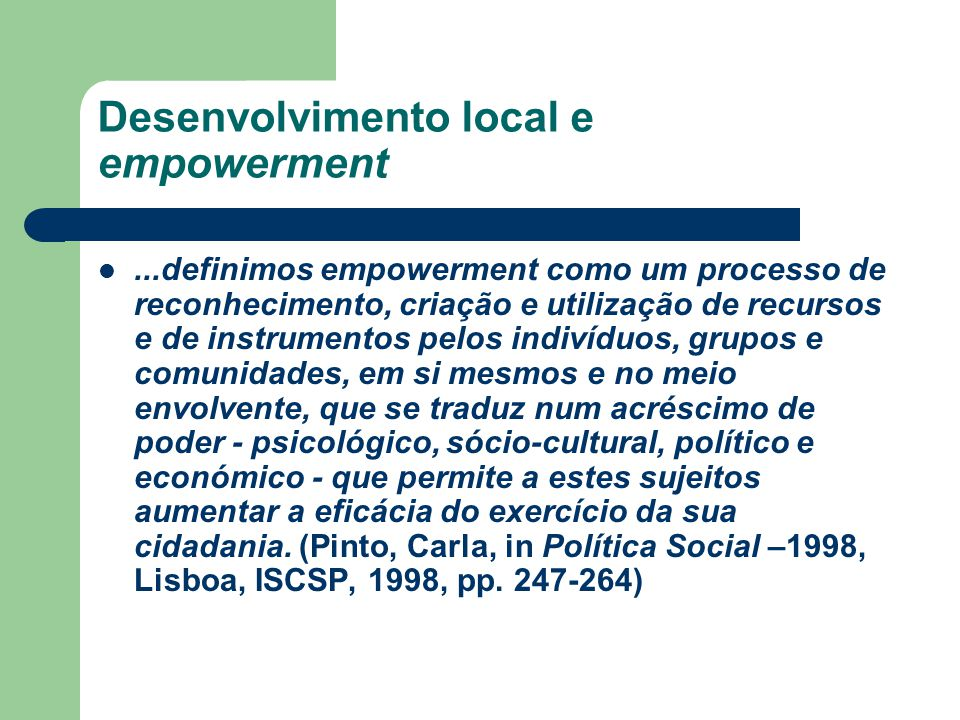 Desenvolvimento local e empowerment