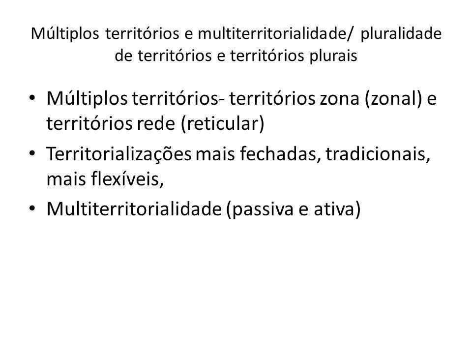 Territorializações mais fechadas, tradicionais, mais flexíveis,