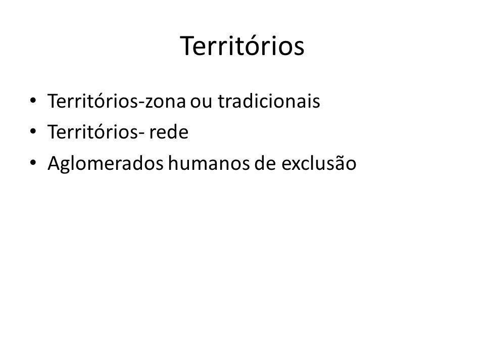 Territórios Territórios-zona ou tradicionais Territórios- rede
