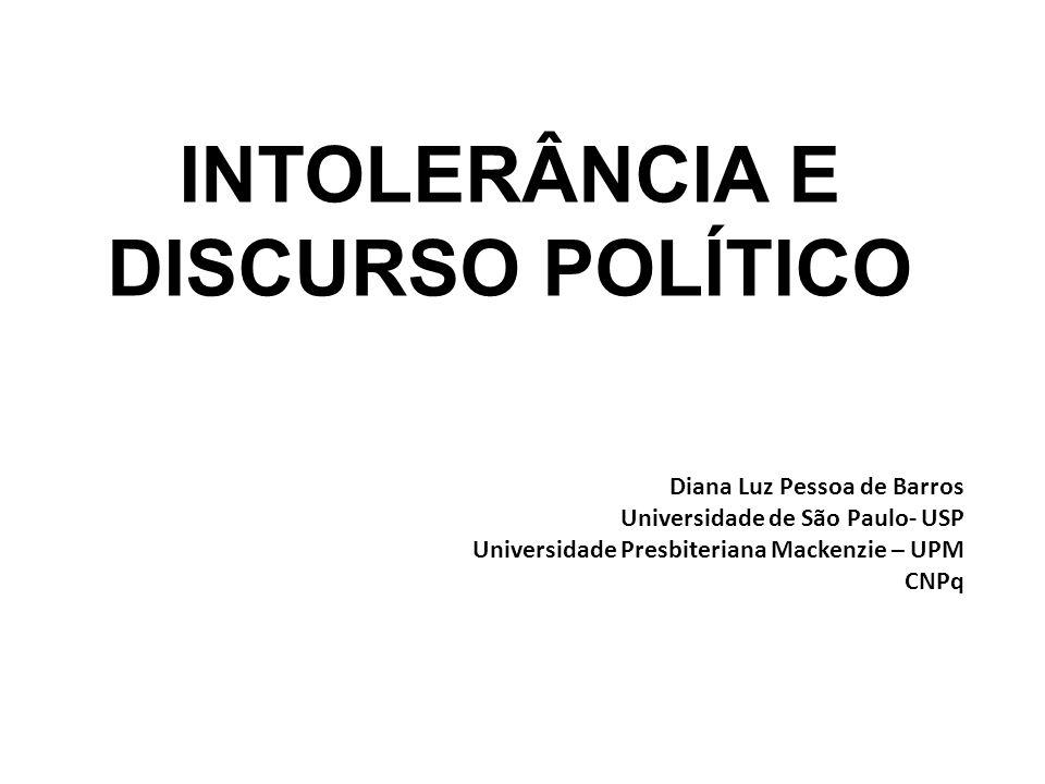 INTOLERÂNCIA E DISCURSO POLÍTICO