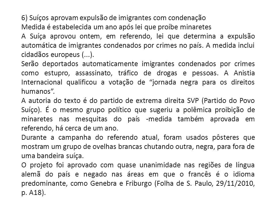 6) Suíços aprovam expulsão de imigrantes com condenação